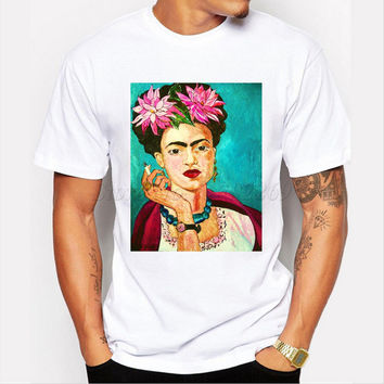 Asian Size Art design Smoking Frida Kahlo men t shirt Vintage Character printed male funny tops fashion short sleeve casual tops