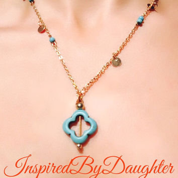 Turquoise and Gold Clover Leaf Pendant Necklace Turquoise Beads with Gold Discs
