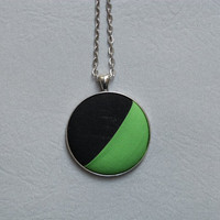 Bright green and black colorblock necklace | fabric button pendant | eco friendly jewelry | modern fashion gift idea for her | OOAK necklace