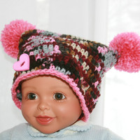 Pink Baby hat crochet girls jester with poms. gray, mauve, burgundy black 6 - 12 months
