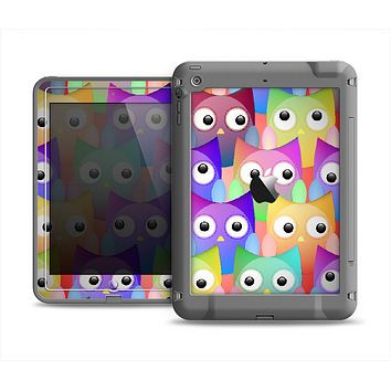 The Multicolored Shy Owls Pattern Apple iPad Mini LifeProof Fre Case Skin Set