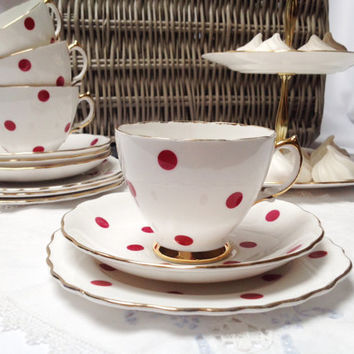 A polka dot vintage teaset by Royal Vale, bone china 1950s  tea set: tea cup, saucer and tea plate. So cute.