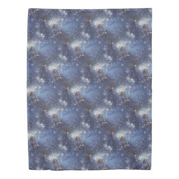Starry Space Blue Duvet Cover