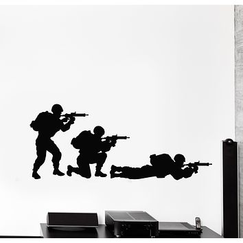 Vinyl Wall Decal Soldiers Military Weapons War Game Room Stickers Mural (g255)
