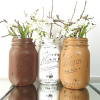 Distressed, Painted Mason Jars - Rustic-Style, Home Decor | Brown and White, Hand Painted (Pint) Mason Jars