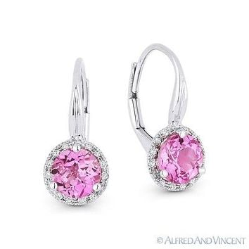 1.62ct Pink Lab-Sapphire & Diamond 14k White Gold Drop Leverback Baby Earrings