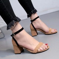 Ankle Wraps Chunky Heels Open Toe Sandals