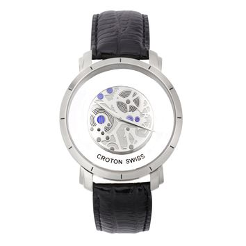 Croton Mens Stainless steel Silvertone See Thru Dial Watch