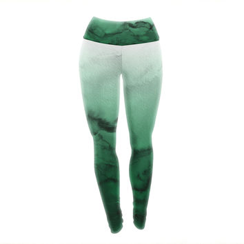 "Ebi Emporium ""Winter Waves 7"" Green Black Yoga Leggings"