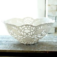 HandCarved Porcelain Lace Fruit Bowl by isabelleabramson on Etsy