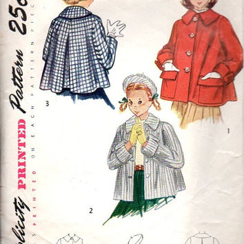 Simplicity 1950s Sewing Pattern 3147 Girls Flared Swing Coat Jacket Topper Beret Hat Size 8