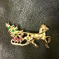 Tanger II Gold Tone Brooch Pin With Horse Drawn Sleigh and Christmas Tree, Brooch Pin, Christmas Brooch Pin - C Code 2BEBBUY 20 PCT 20 Min