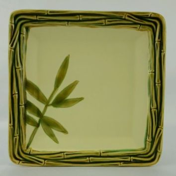 "Roscher & Co Bamboo Bay Collection Salad Plate Square 8 1/2"" Stoneware Leaves"