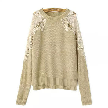 Khaki Shoulder Lace Patch Sweater