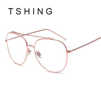 ONETOW TSHING Unisex Fashion Brand Designer New Aviation Metal Glasses Frame Unique Top Clear Lens Frames Feamle Optical Glasses