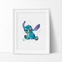Stitch, Lilo & Stitch Watercolor Art Print