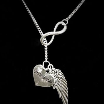 Infinity Guardian Angel Little Sister Wing In Memory Heaven Y Lariat Necklace