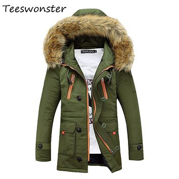 High Quality Men Fashion Parka Stand Collar Hooded Casual Mens Winter Jackets Blouson Homme Parkas De Pluma Para Hombres