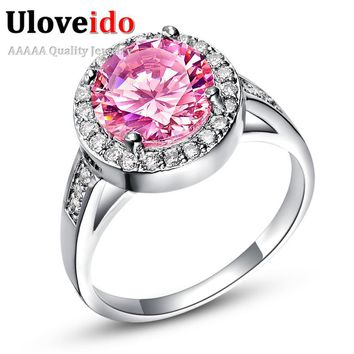 Uloveido Vintage Silver Jewelry Pink Stone Large Rings for Women Pink Jewellry Engagement Ring Bague Femme Jewelry Rings J428