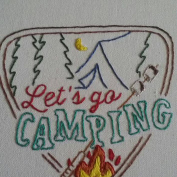 Let's go Camping hand embroidered tea towel, s'mores, camping, vintage kitchen, kitchen towel, great outdoors, toasted marshmallows, fire