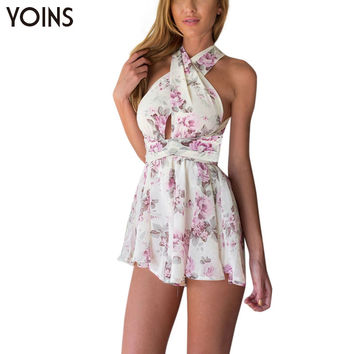 YOINS 2016 New Woman Fashion Floral Print Plung V Neck Playsuit Sexy Backless Jumpsuit Ladies Tie Waist Romper Beach Wear