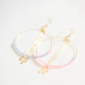 Gold Hoop Earrings with Pink and Blue Seed Beads - 14k gold filled wire and chain - Handmade in Hawaii