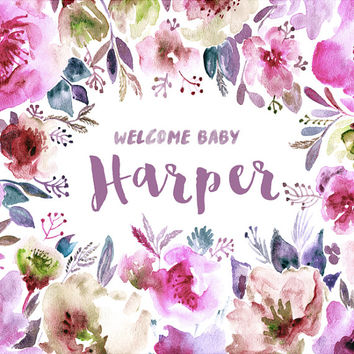 CUSTOM NAME Text Baby Shower Backdrop Watercolor Floral Print Wife Wedding Bride Future Mrs Shower Bridal Fabric Cloth Background