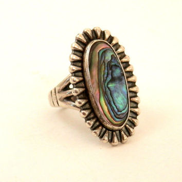Navajo Silver Ring with Abalone Broken Arrow and Medicine Man Eye Hallmark