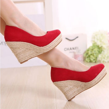 High-heels shallow mouth platform foam bottom new wedding women's wedges thick heel shoes