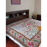 Cotton Tree of Life Tapestry Tablecloth Spread Twin 70x104 inches White