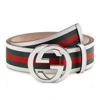Gucci GG Web Leather Belt with Interlocking G Buckle 114984 8624 (white) (34)