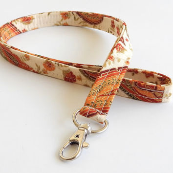 Autumn Lanyard / Fall Paisley / Thanksgiving / Key Lanyard / ID Badge Holder / Fabric Lanyard / Harvest Lanyard / Floral Print / Fall Leaves