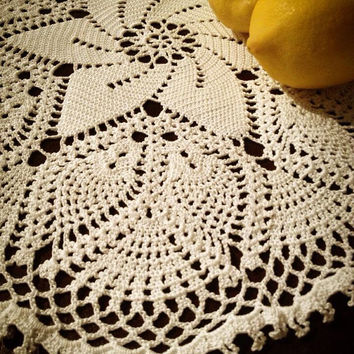 ON SALE - OOAK Hand Crochet Lace Doily - Handmade White Lace