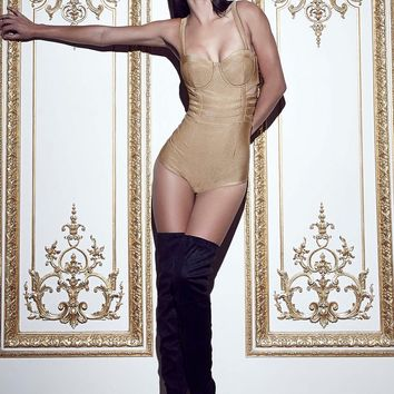 Missguided - Peace + Love Boned Cut Out Bodysuit Camel