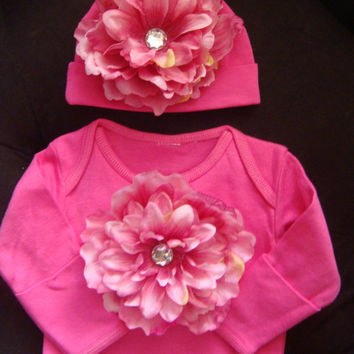 NEWBORN Baby girl outfit - layette - gown -hot pink over sized flower adorn this outift - matching beanie hat- photo prop outfit