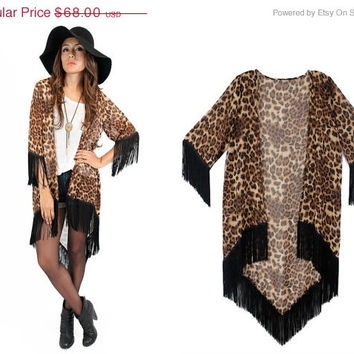 24d3ecac74 ON SALE On the Prowl Leopard Print Kimono  Vintage Inspired Frin