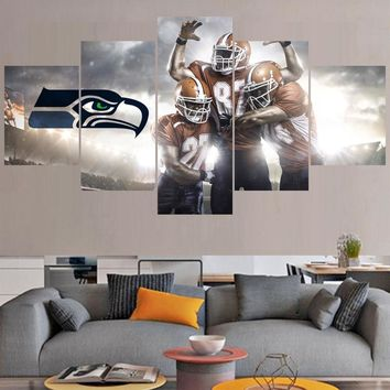 Rugby ball Logo Paintings Seattle Seahawks Modern Home Decor Living Room Bedroom Wall Art Canvas Print Painting Calligraphy