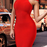 Triangle Cutout Bandage Dress - Red