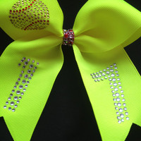 Bright Yellow Softball Bow with Rhinestones Bling and Custom Number