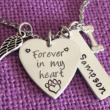 Pet Memorial Jewelry - Dog Memorial Necklace - Pet Loss Gift - Forever in my Heart - In Memory of Dog. Personalized Dog Remembrance