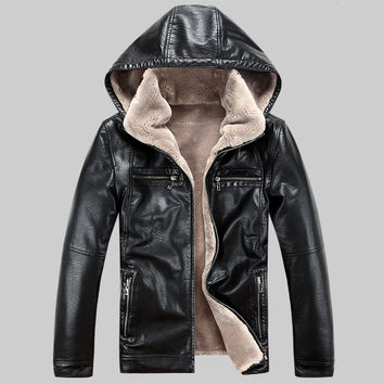 Men PU leather jackets 2017 New brand plus velve casual mens leather jackets and coats,Hat Detachable Winter warm jaqueta couro