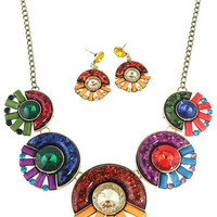 Rhinestones and Rectangle Stone Designed Round Necklace and Earrings