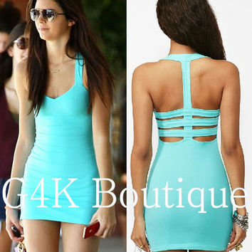 Womens Celebrity Bodycon Cut Out Fitted Sexy Backless Top Tea Party Summer Dress
