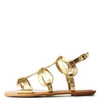 Gold Bamboo Looped Flat Gladiator Sandals