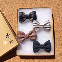 Textured blue, blue flannel, navy pinstripe, and textured mauve Seaside Sparrow hair bow lot. Brandy Melville inspired colors.