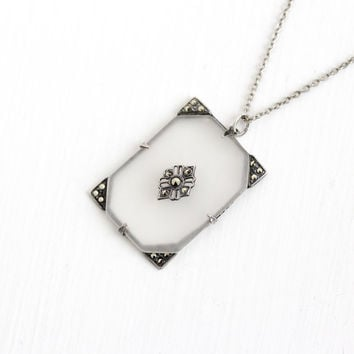 Sale - Vintage Sterling Silver Art Deco Camphor Glass & Marcasite Necklace - 1930s Flower Filigree Frosted White Stone Pendant Jewelry