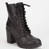 Soda Malia Womens Combat Boots Black  In Sizes