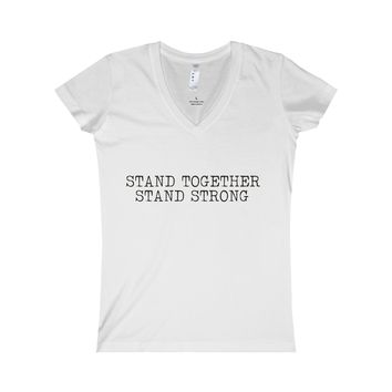 Stand Together, Stand Strong: Jr Fit Fine Jersey V Neck For Ladies