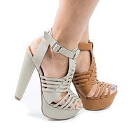 Freedom By Delicious, High Heel Platform Huarache Fisherman Sandal w Strappy Woven Cage Design