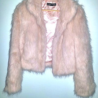 Vintage Faux Fur CLUELESS Coat Powder Pink Jacket Womens Club Kid Soft Grunge Festival by Blanc Noir Size Large
